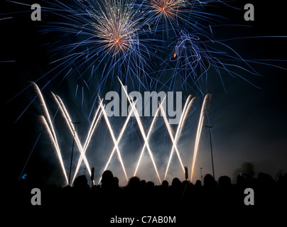 Fireworks synchronized to music, preliminary decision to the fireworks world championship Pyronale, Erfurt, Germany - Stock Photo