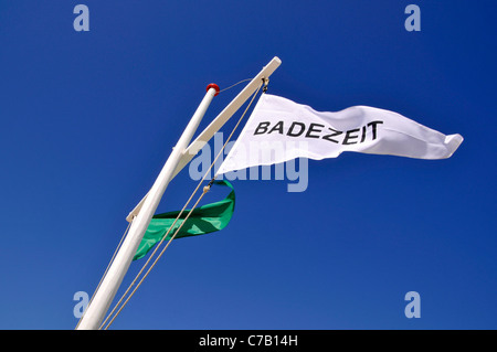 Flag Badezeit or swimming time, beach in Westerland, Sylt, North Frisian Island, Germany, Europe - Stock Photo