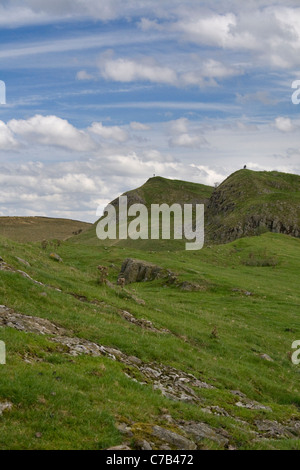 Hadrians Wall trail near Walltown crags, Northumberland - Stock Photo