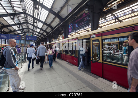 S-Bahn train at Berlin Friedrichstraße railway station, Germany - Stock Photo