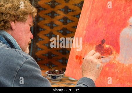 Waterperry Arts in Action 2011 - artist at work 1 - Stock Photo