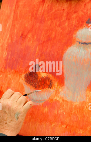 Waterperry Arts in Action 2011 - artist at work 2 - Stock Photo