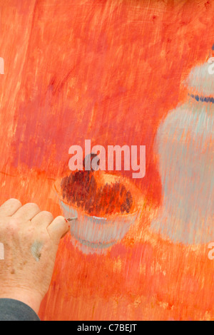 Waterperry Arts in Action 2011 - artist at work 3 - Stock Photo