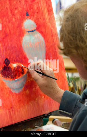 Waterperry Arts in Action 2011 - artist at work 6 - Stock Photo