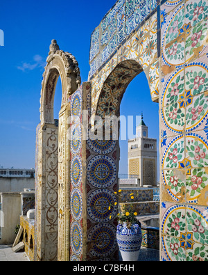 Tunis, Tunisia, North Africa, old Medina, Palais de l'Orient, Oriental palace roof terrace decorated with mosaics, - Stock Photo