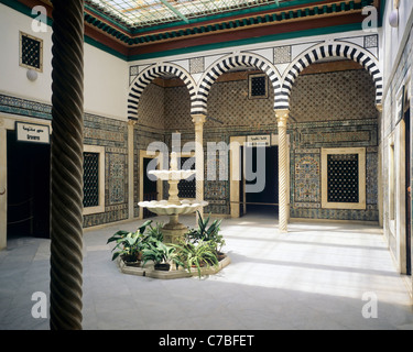 Tunis, Tunisia, North Africa, Bardo National museum, small patio with marble fountain, - Stock Photo
