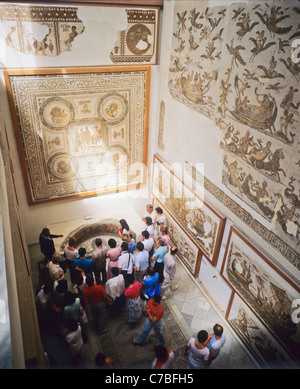 Tunis, Tunisia, North Africa, Bardo National museum, tourists visiting the exhibition of Roman mosaics, - Stock Photo