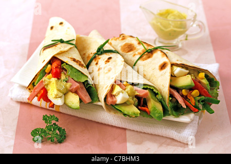Mexican fajitas with salad and ham. Recipe available. - Stock Photo