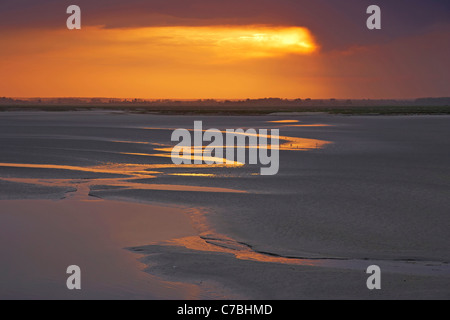 Early morning at the Baie de Somme at Saint-Valery-sur-Somme, Dept. Somme, Picardie, France, Europe - Stock Photo