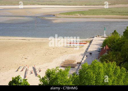 View over Baie de Somme at Saint-Valery-sur-Somme, Dept. Somme, Picardie, France, Europe - Stock Photo