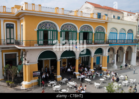 People sitting outside and live music at Taberna de la Muralla Brewery Bar and Restaurant on Plaza Vieja City of - Stock Photo