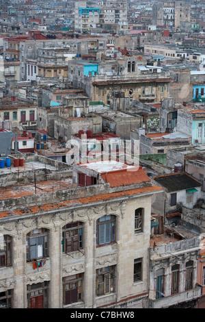 View over the rooftops of the old town, City of Havana, Havana, Cuba - Stock Photo