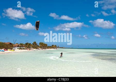 Kitesurfer near beach, Cayo Guillermo, Jardines del Rey, Ciego de Avila, Cuba, Caribbean - Stock Photo