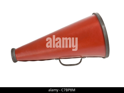Vintage megaphone from the 1920's isolated on white. - Stock Photo