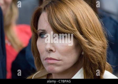 Kay Burley interviews people for Sky news. - Stock Photo