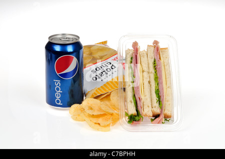 Ham and cheese with lettuce takeaway pre-made sandwich on white bread in plastic packet container with potato chips - Stock Photo