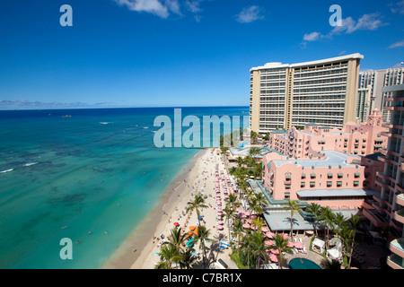 Royal Hawaiian Hotel, Waikiki Beach, Honolulu, Oahu, Hawaii - Stock Photo