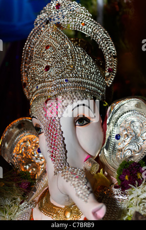A Portrait of a Ganesha God at Ganesh Festival in India. - Stock Photo