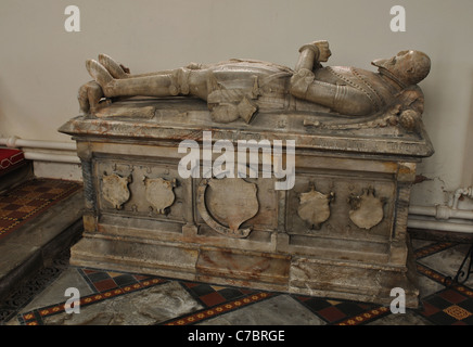 Sir Michael Pulteney tomb, St. Leonard`s Church, Misterton, Leicestershire, England, UK - Stock Photo