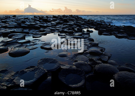 Partially submerged basalt columns at Giant's Causeway near sunset, County Antrim, Northern Ireland, United Kingdon - Stock Photo