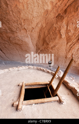 Ladder leading down into Alcove House kiva, Bandelier National Monument, New Mexico, USA - Stock Photo