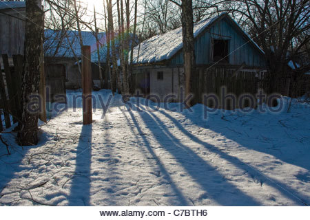 Chernobyl 25 years later, Wastland of Chernobyl zone - Stock Photo