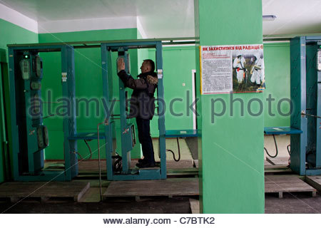 Chernobyl 25 years later, Checkpoint of Chernobyl zone - Stock Photo