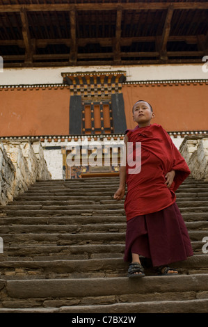 The Rinpung Dzong in Paro, Bhutan, is home and school to several hundred apprentice monks as well as adult ones. - Stock Photo