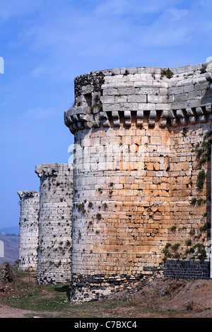 The crusader castle Krak Des Chevaliers, Syria - Stock Photo