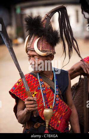 India, Nagaland, Longwa, Konyak Naga warriors in traditional dress - Stock Photo