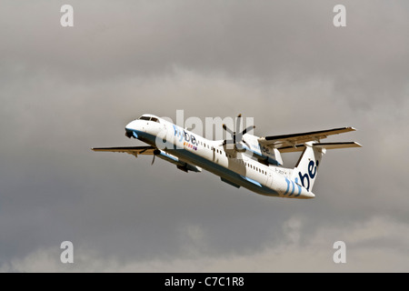 De Havilland Canada DHC-8Q-402 Dash 8, G-JECY, Flybe taking off from Cardiff Airport - Stock Photo