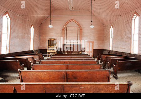 Interior of Methodist Church, Bodie State Historic Park, California, USA - Stock Photo