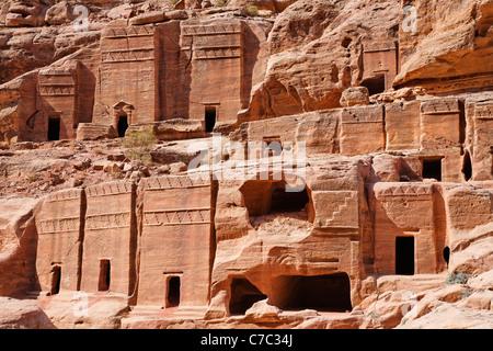 Rock cut tombs on the Street of Facades, Petra, Jordan - Stock Photo
