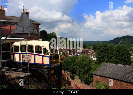 Castle Hill Funicular Railway connecting High Town to Low Town, Bridgnorth, Shropshire, England - Stock Photo