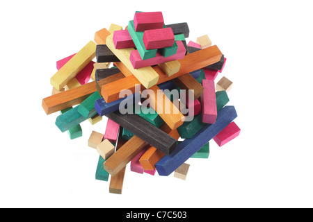 Wooden Toy Building Blocks - Stock Photo