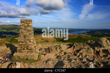 The view overlooking Windermere, from the summit of Loughrigg Fell, Lake District National Park, Cumbria, England - Stock Photo