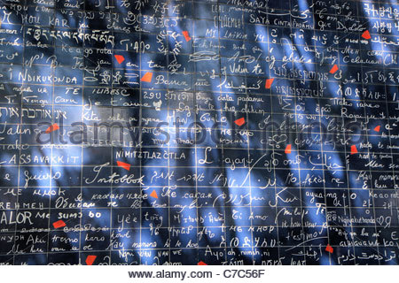 The 'I love you wall' in the square Jehan Rictus, in Montmartre, Paris, France - Stock Photo
