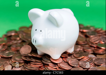 One piggy bank on a pile of pennies - Stock Photo