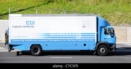 National Health Service Logistics Authority lorry part of supply chain keeps NHS healthcare services working driving - Stock Photo