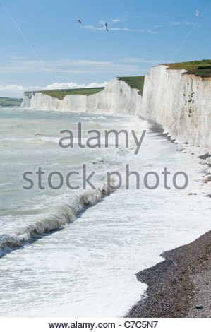 The Seven Sisters cliffs from Birling Gap, South Downs National Park, East Sussex, England. - Stock Photo