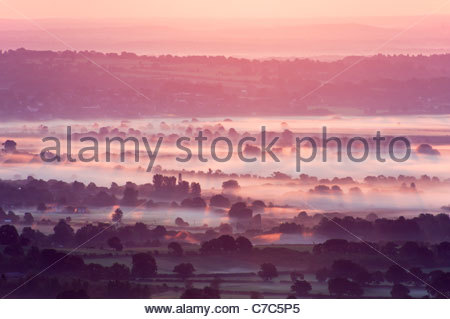 Morning mist in the South Downs National Park - Stock Photo