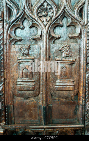 Carved wooden bench ends in St Sampson's Church, Golant Cornwall, SEE DESCRIPTION FOR DETAILS. - Stock Photo