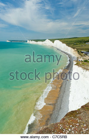 The Seven Sisters cliffs, from above Birling Gap, South Downs National Park - Stock Photo