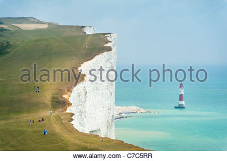 The South Downs Way at Beachy Head, on the Seven Sisters cliffs, South Downs National Park - Stock Photo