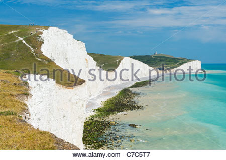 Belle Tout lighthouse and Birling Gap from the Seven Sisters cliffs, South Downs National Park - Stock Photo