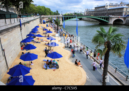 Paris beaches along the Seine side, France - Stock Photo