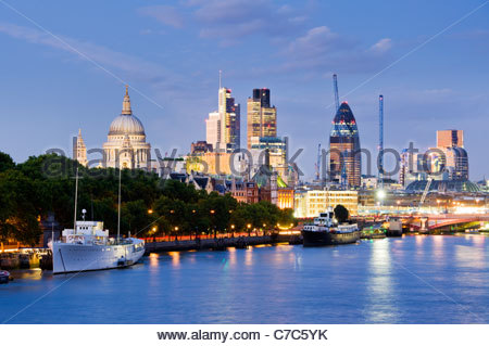 The City skyline from the river Thames, London. - Stock Photo