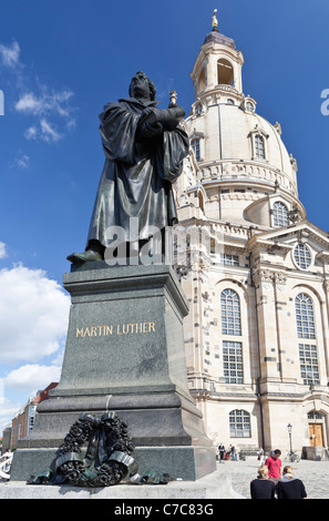 Martin Luther monument in front of the Frauenkirche Dresden (Church of Our Lady) - Dresden, Saxonia, Germany, Europe - Stock Photo