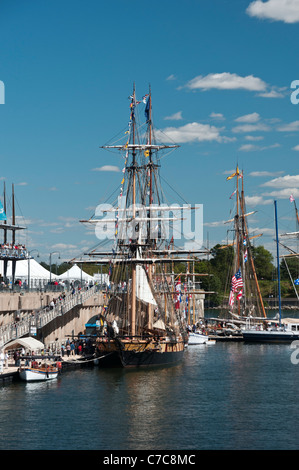 The Niagara, one of six tall ships docked at the Old Port of Montreal - Stock Photo