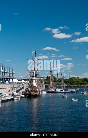 Tall ships docked at the Old Port of Montreal - Stock Photo